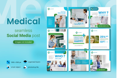 Medical Social Media Post Template with a blue color theme