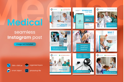 Medical Social Media Post Template with a red color theme
