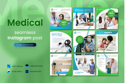 Medical Social Media Post Template with a green color theme