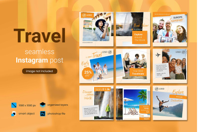 Travel Social Media Post Template with an orange color theme