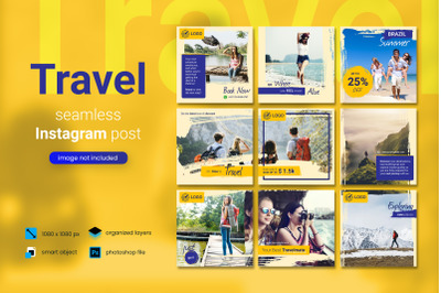 Travel Social Media Post Template with a yellow color theme