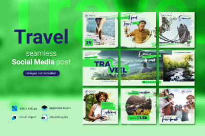 Travel Social Media Post Template with a green color theme