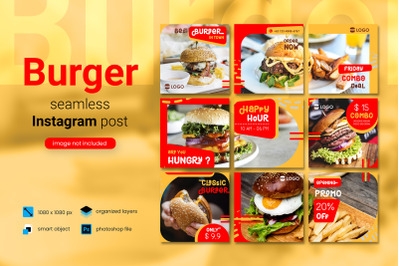 Burger Social Media Post Template with a red color theme