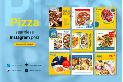 Pizza Social Media Post Template with a yellow color theme