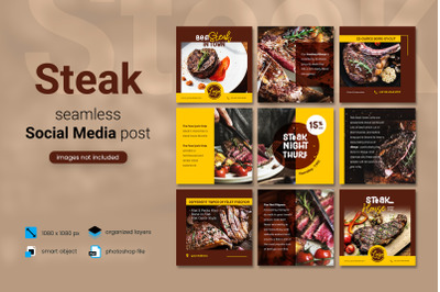 Steak Social Media Post Template with a brown color theme
