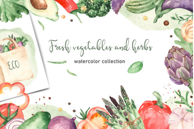 Vegetables and herbs Watercolor collection Clipart