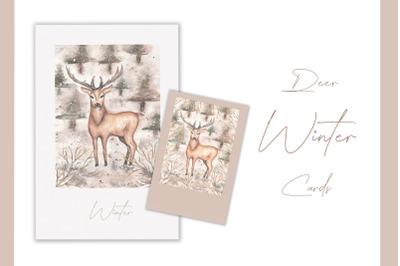 Watercolor winter deer cards
