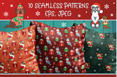 Woof. Christmas seamless patterns with cute doggies
