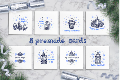 8 premade greeting cards with hand drawn candles and lanterns
