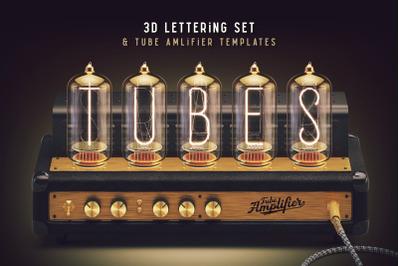Tubes 3d lettering set