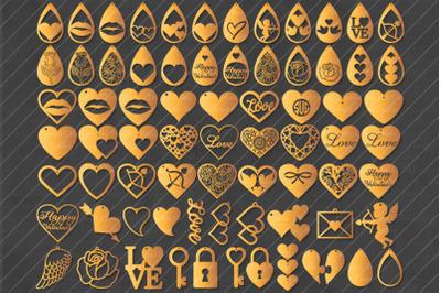 70 Earrings Valentine Love SVG, Cut Files. Pendant, Heart Earring SVG