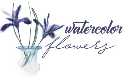 watercolor botanical illustration. two flowers