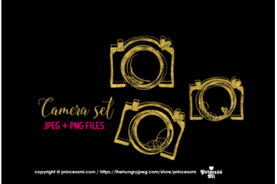 Gold camera , glitter clipart set