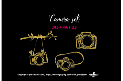 Gold camera, glitter camera clipart set 2