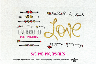 Love , love hearts border set