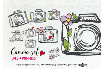 cute and fun camera clipart set, with flowers, love hearts