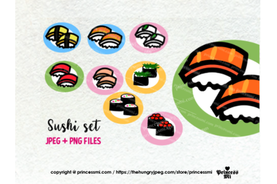 Japanese Sushi clipart set