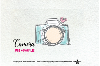 camera clipart - light blue