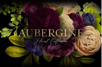 Aubergine Floral Clip Art Graphics Collection