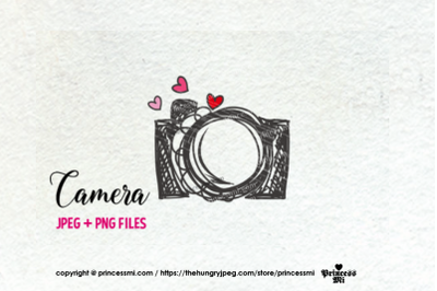 camera clipart - hearts
