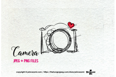 camera clipart - red heart