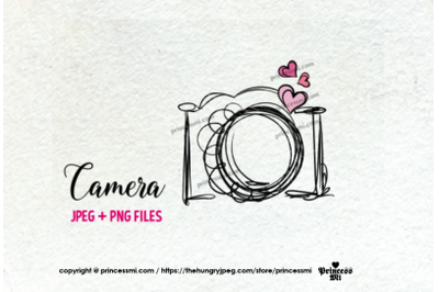 camera clipart - three little hearts