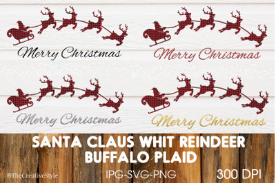 Santa Claus with Reindeer Buffalo Plaid
