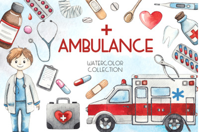 Ambulance. Watercolor collection