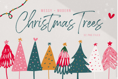 Messy and Modern Christmas Tree Illustrations