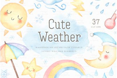 Cute Weather Watercolor Clip Arts