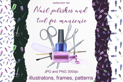 Watercolor set of nail polish. Fashion and beauty manicure kit