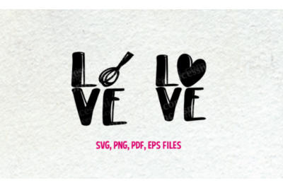 Love baking set / svg, eps, png file