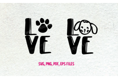 Love dog set / svg, eps, png file