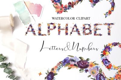 Watercolor Summer Floral Alphabet