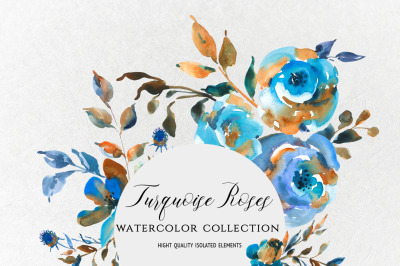 Watercolor turquoise roses