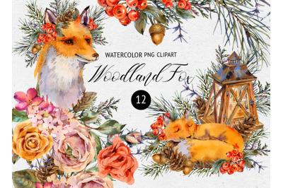 Watercolor Fox Woodland Clipart