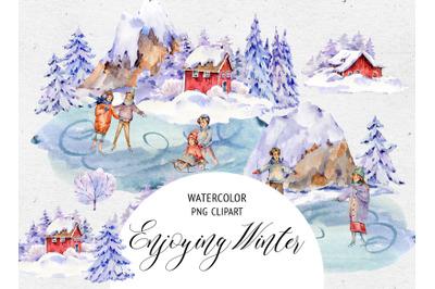 Watercolor Scandinavian Landscape