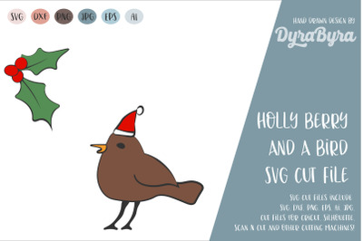Holly Berry and Bird SVG / Christmas SVG Vector