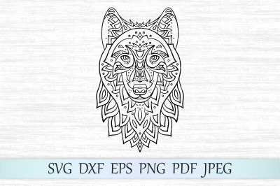 Wolf svg, Zentangle wolf svg, Mandala wolf svg, Wolf head svg