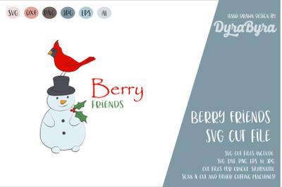 Best Friends SVG / Cardinal Bird and Snowman SVG Cut File