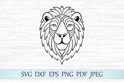 Lion svg, Lion face svg, Lion silhouette, Zentangle lion, Lion head