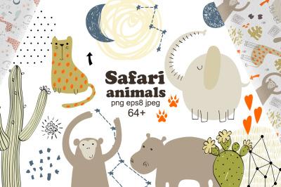Safari animals. Vector set.