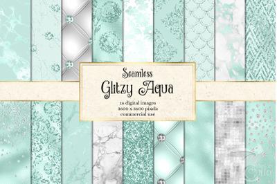 Glitzy Aqua Digital Paper