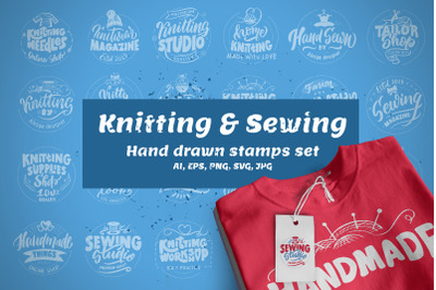 Hand drawn stamps set