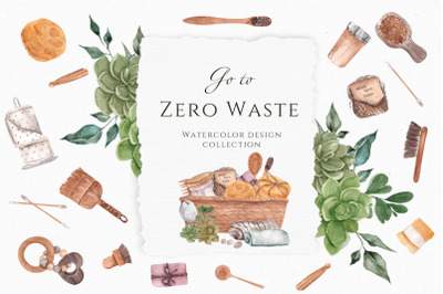 Go to Zero Waste. Watercolor Aesthetic collection