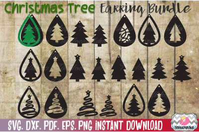 SVG, DXF, PDF, PNG, and EPS 22 Christmas Tree Template Bundle