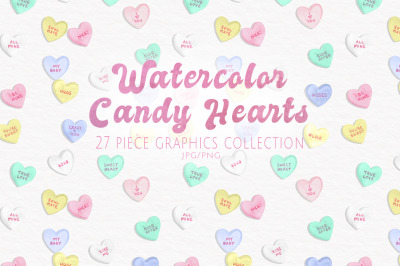 Watercolor Candy Hearts Set