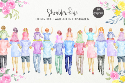 Watercolor Clipart Shoulder Ride