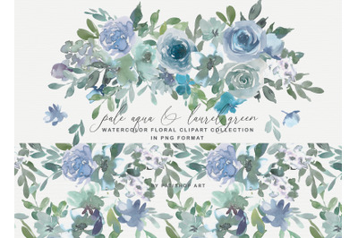 Pale Aqua & Laurel Green Watercolor Subtle Floral Collection