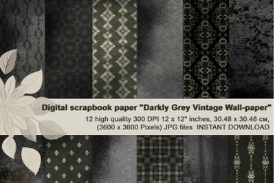 Dark gray, vintage, masculine digital paper.